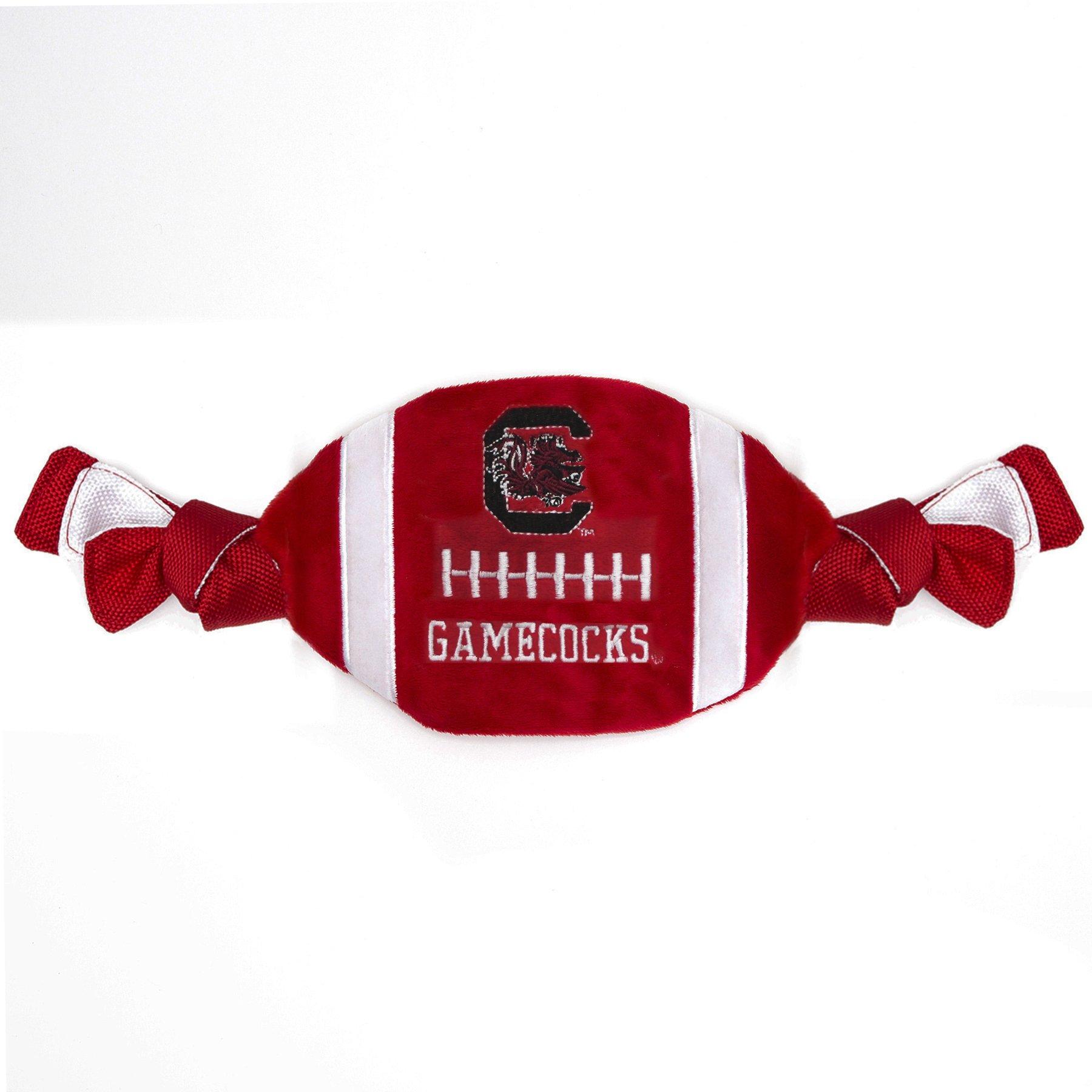 NCAA South Carolina Gamecocks Plush & Crinkle Flatty Football Pet Toy Tough Ropes Dogs & Cats