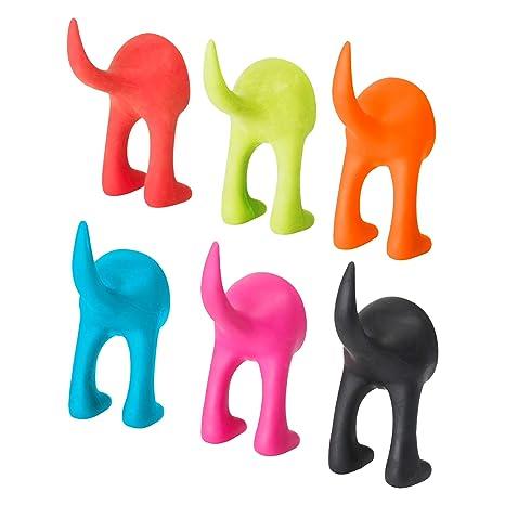 Ikea Bastis - Ganchos de Pared para Perros, 12 cm, 6 Unidades, Color Rojo, Verde, Azul, Rosa, Naranja y Negro