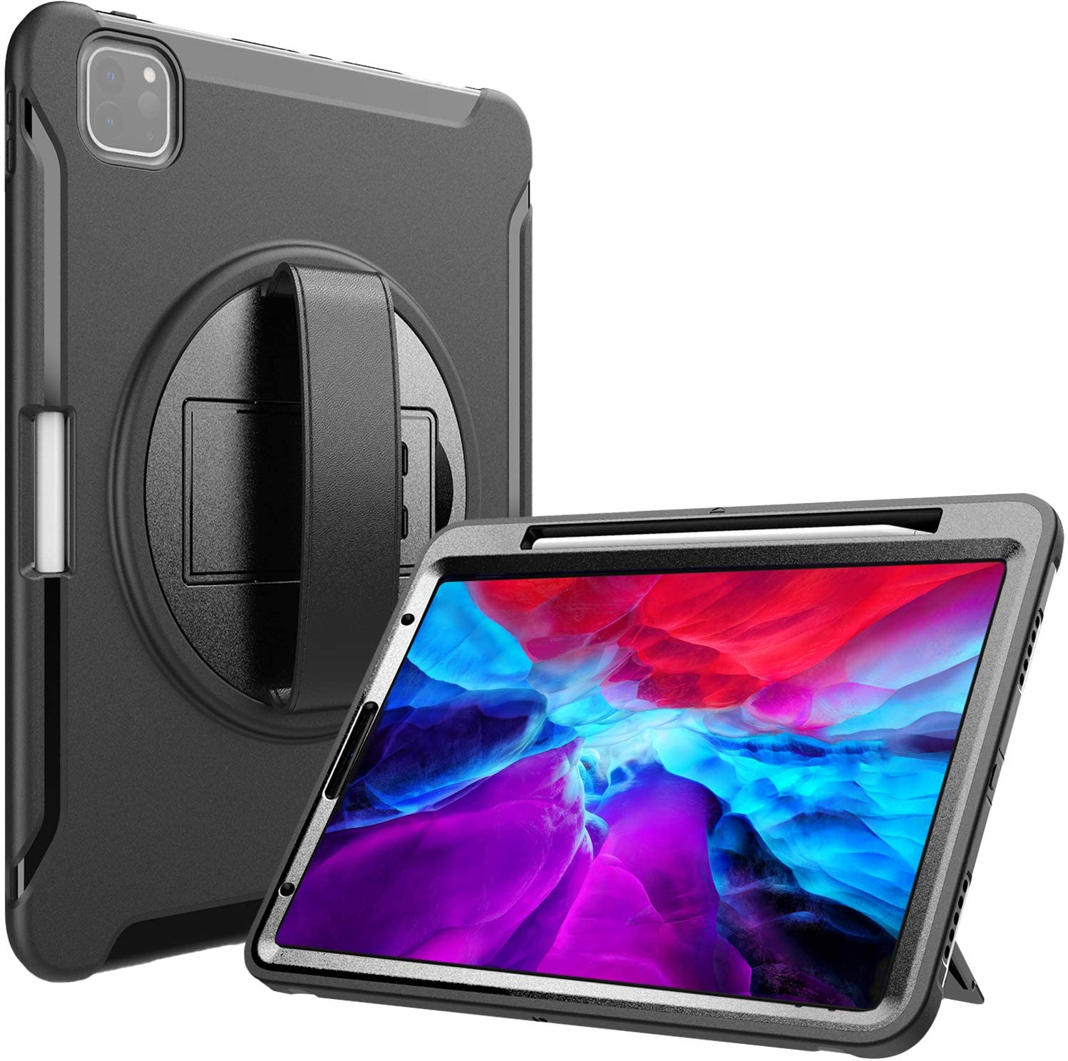 "ProCase iPad Pro 12.9 Rugged Case 2020 & 2018 [Support Apple Pencil 2 Charging], Heavy Duty Shockproof Rotatable Kickstand Protective Cover for iPad Pro 12.9"" 4th Gen 2020 / 3rd Gen 2018 -Black"