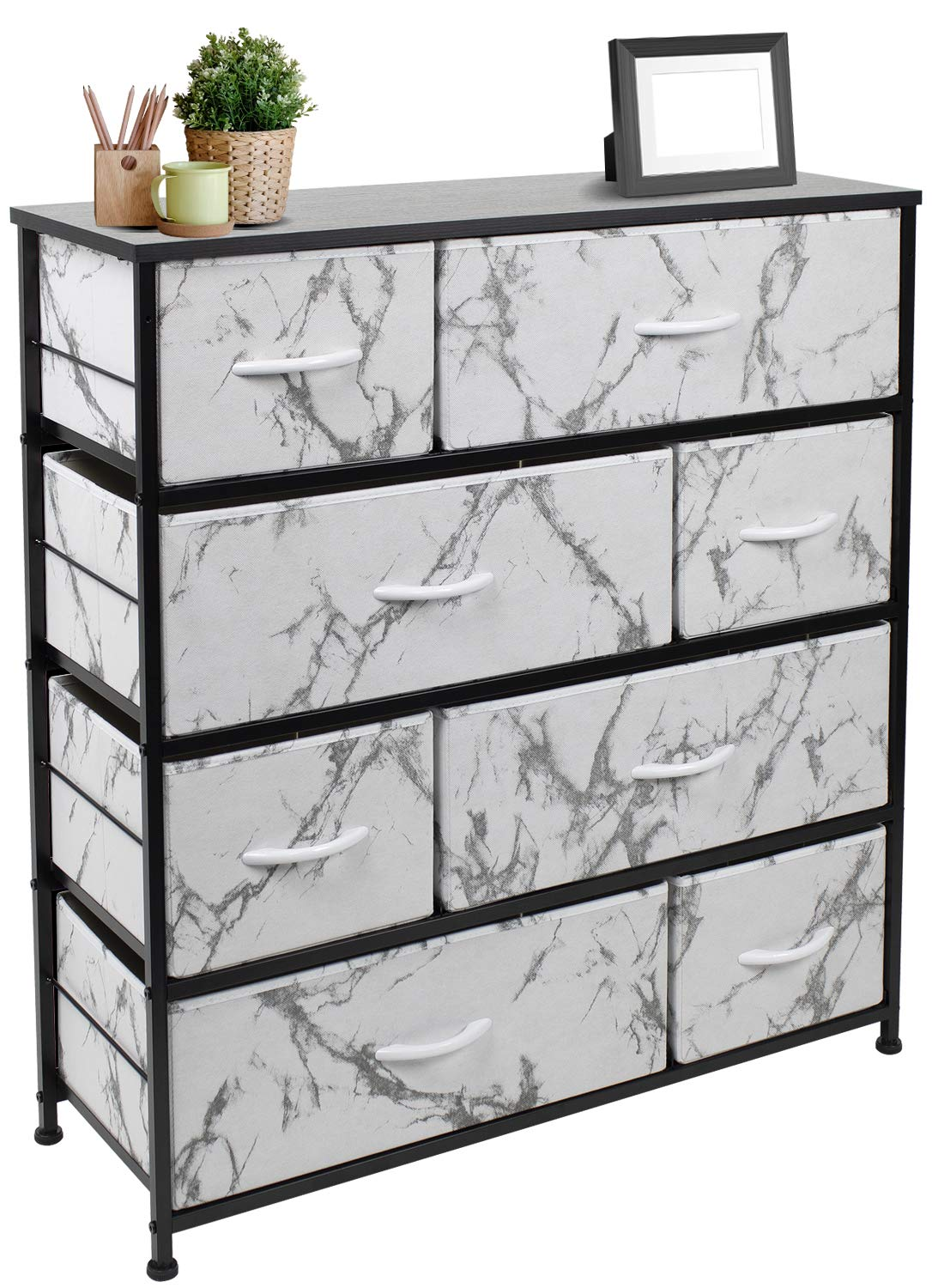 Sorbus Dresser with 8 Drawers - Furniture Storage Chest Tower Unit for Bedroom, Hallway, Closet, Office Organization - Steel Frame, Wood Top, Easy Pull Fabric Bins (Marble White – Black Frame)