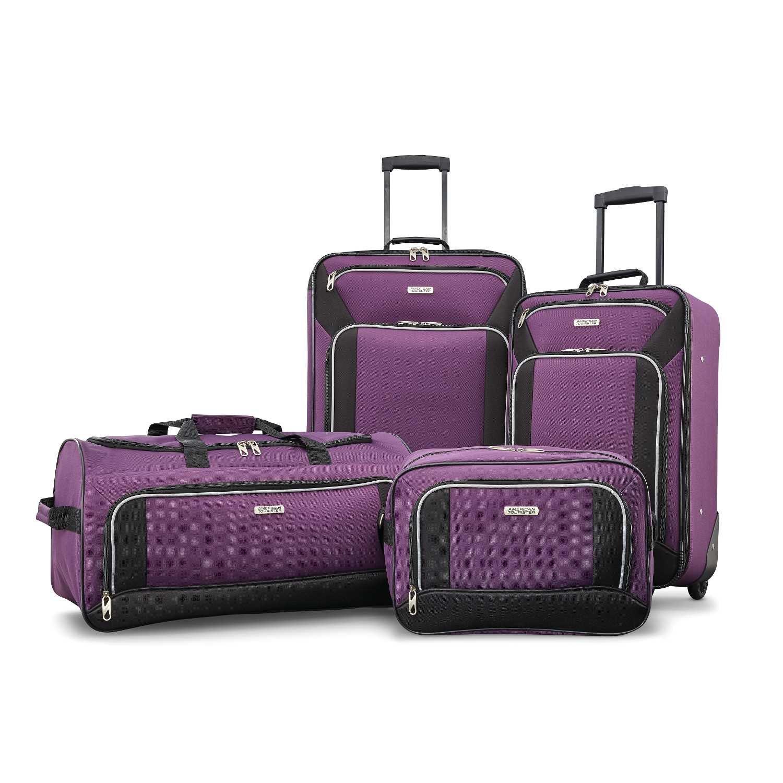 American Tourister Fieldbrook XLT 4pc Set (bb/Wh Dfl/ 21/25 Upright), Purple/Black