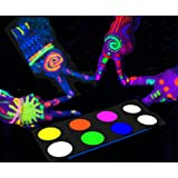 [Water Activated] UV Glow In The Dark Face Paint and Body Painting Set Neon Blacklight Reactive Fluorescent Palette Kit Glows Under Black Light Kids safe Non-toxic Perfect for Party Disco Makeup