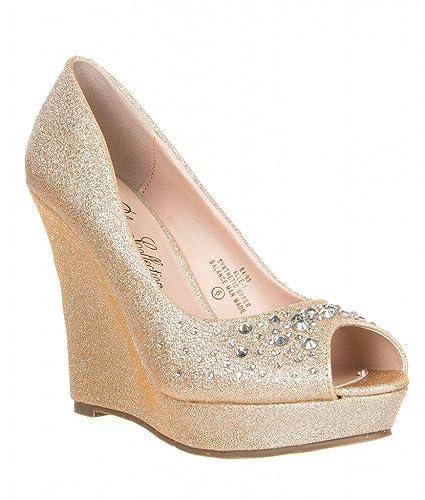 bda0b2eb05c DeBlossom Womens Glitter Rhinestone Peep Toe Pump Alle-1