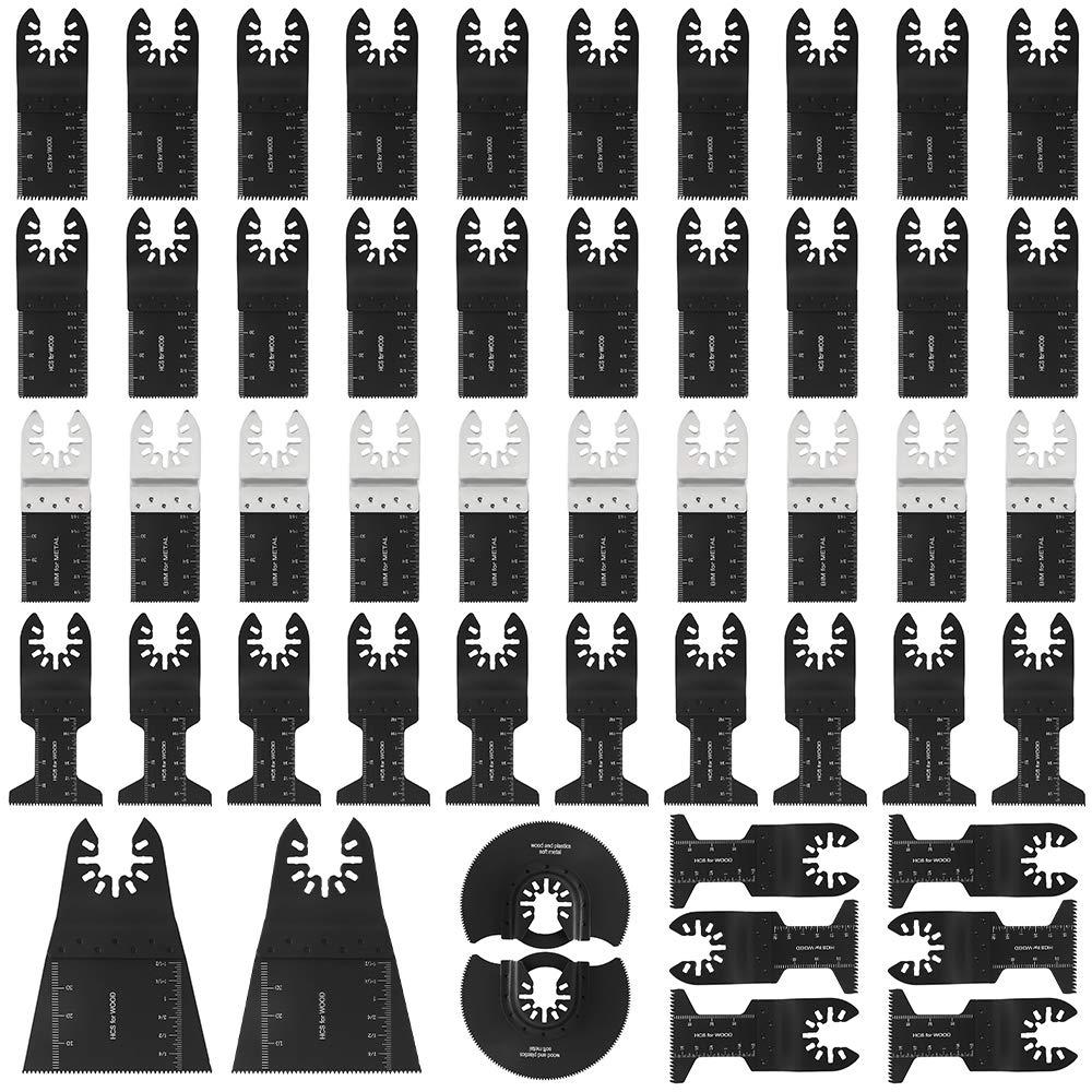 50 Pack BI-Metal/wood Oscillating Saw Blades Multitool Quick Release Blade Fit Fein Multimaster Porter Cable Black & Decker Bosch Dremel Craftsman Ridgid Ryobi Makita Milwaukee Dewalt Rockwell Chi
