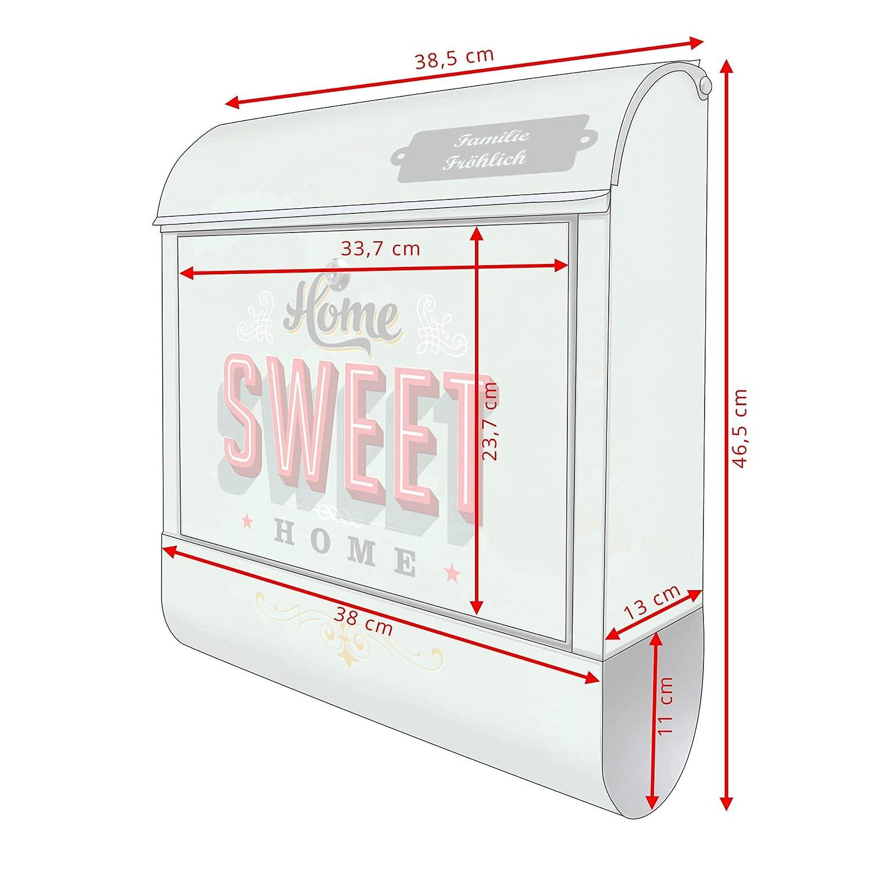 Banjado Briefkasten 39x47x14cm groß Stahl silber mit Zeitungsfach Happy Kids