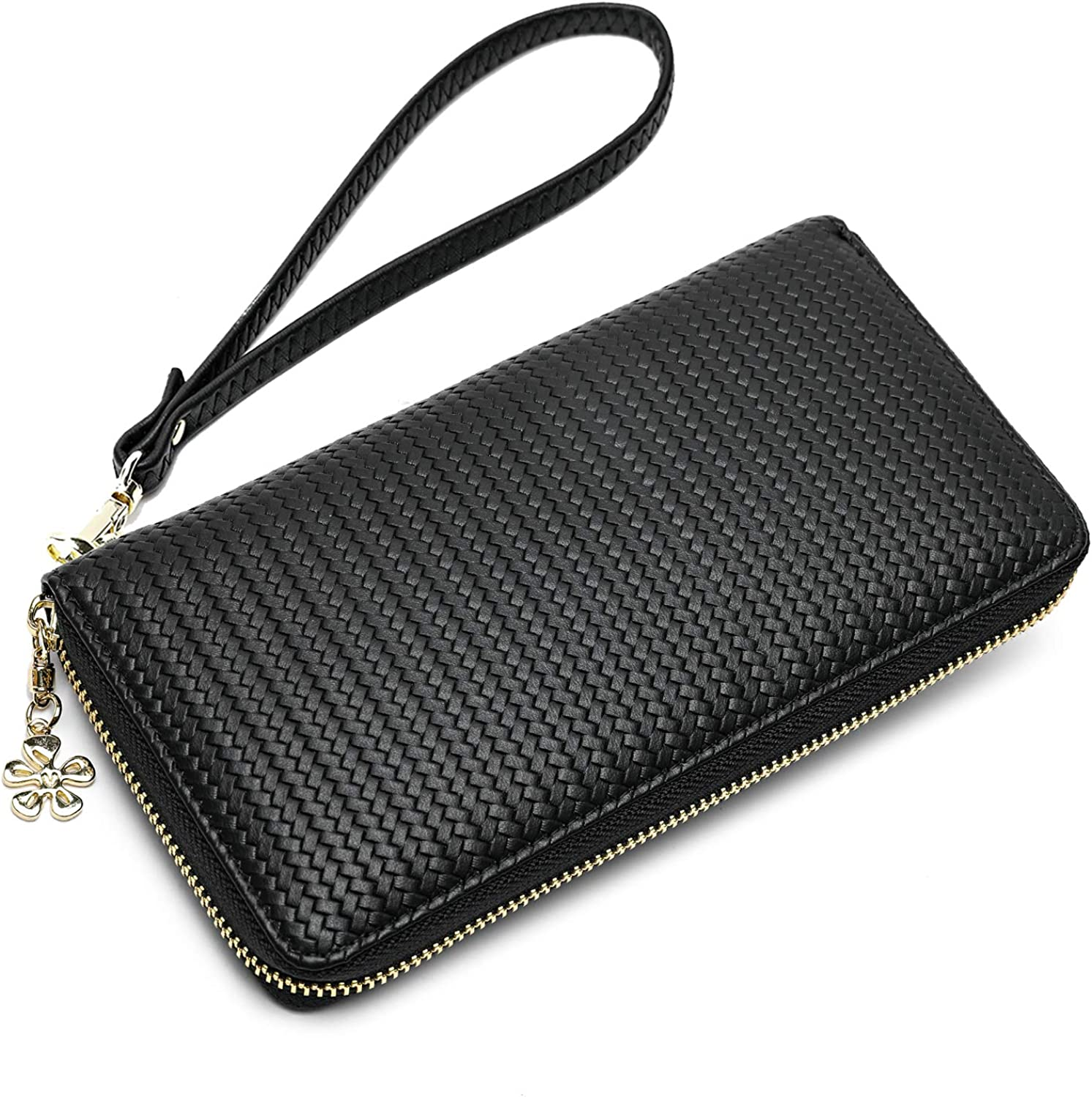 Womens Double Zipper Wallet Large Clutch Cellphone Bag with Wristlet and ID Window