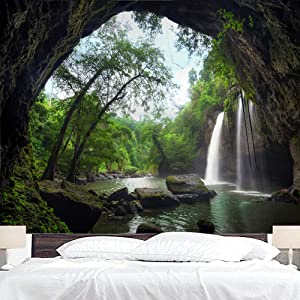 BJYHIYH Mountain Cave Nature Tapestry Wall Hanging Forest Landscape Tapestries Waterfall Large Tapestry for Bedroom Dorm Decor(90.6
