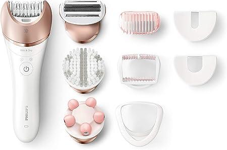 Philips Satinelle Advanced BRE650/00 - Depiladora para uso en seco y húmedo, 8 accesorios para piernas, cuerpo y cara, color dorado