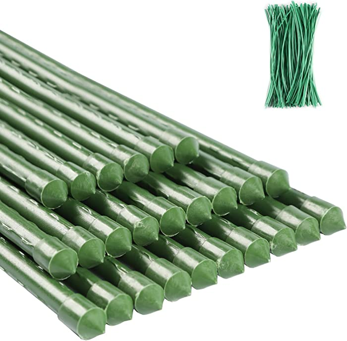 ZJIA 5 FT Garden Stakes 25 Pack Plant Support Stakes Sturdy Tomato Stakes with 100 Ties