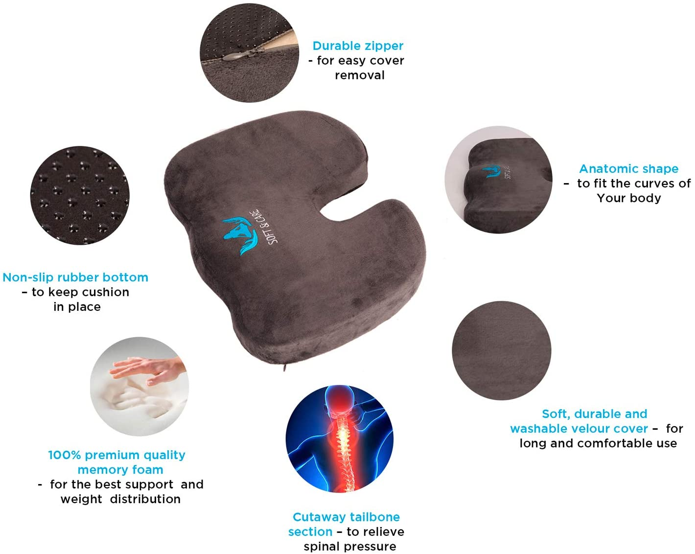 SOFT&CARE Coccyx Orthopedic Seat Cushion and Lumbar Support Pillow Set