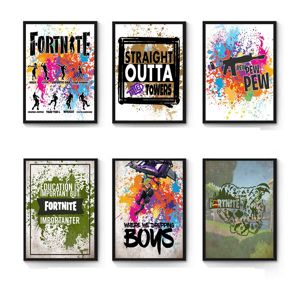 Video Gamer Themed Fort Battle Drop Royale Party Supply Nite Night (Wall Art Prints)