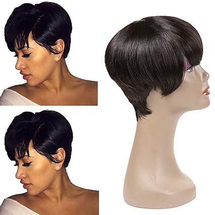 Peluca de pelo humano para mujer negra, peluca corta, pixie corta, peluca con