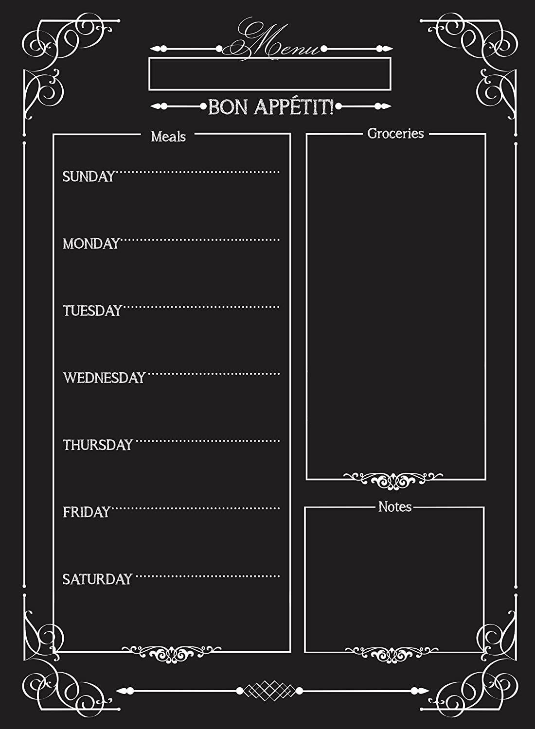 Weekly Menu | Magnetic Chalkboard Style Refrigerator Meal Planner | Grocery Shopping List | Dry Erase Board | Large Calendar | Kitchen Organizer | Smooth Black Surface | Waterproof | 11 x 15 inches Simply Chic Chateau