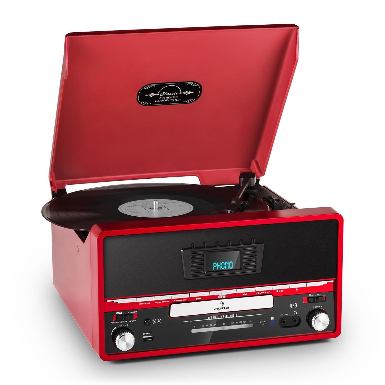 Auna RTT 1922 Tocadiscos estéreo retro - reproductor CD, MP3, digitalizador vinilo, diseño vintage años 20 - rojo