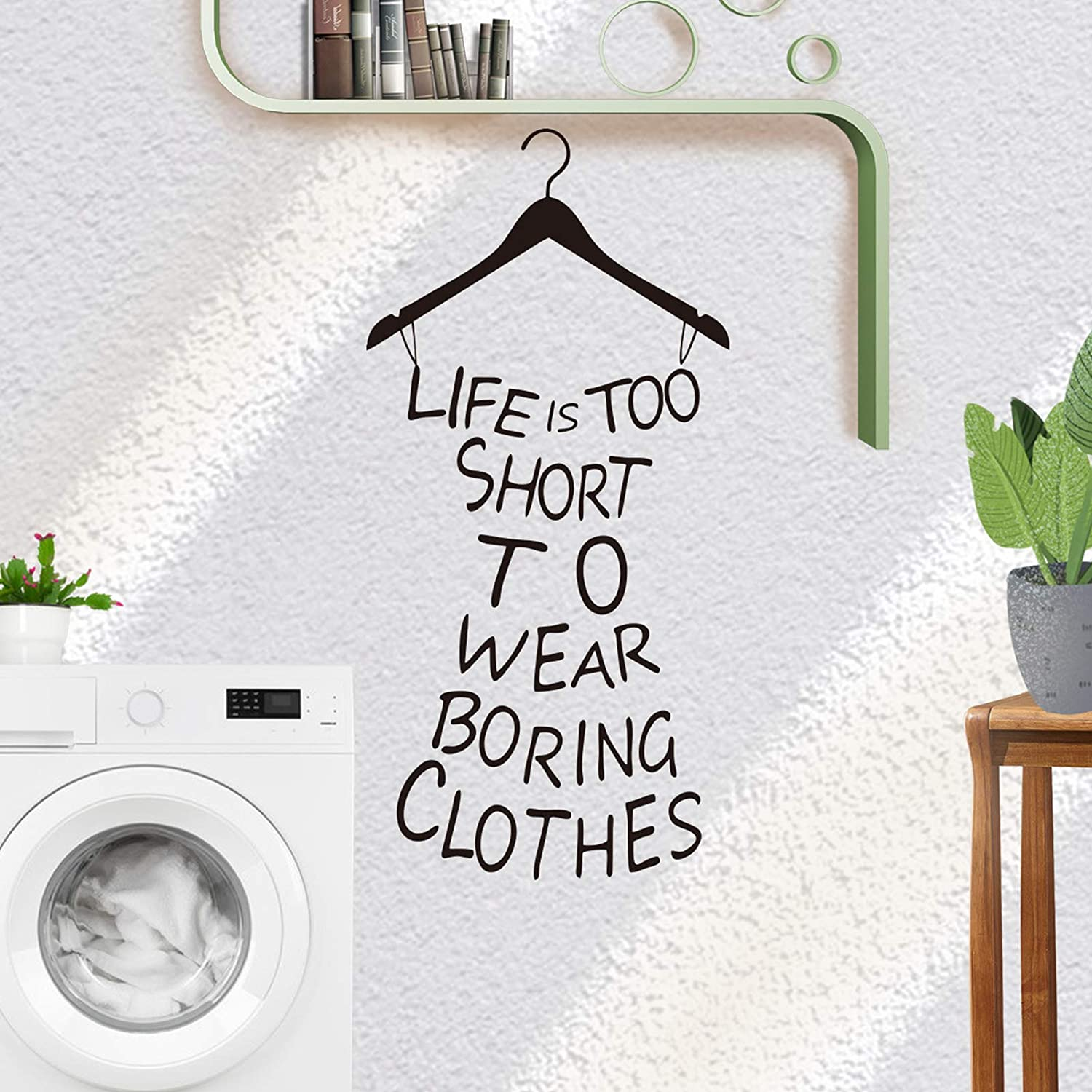 Life is Too Short to WEAR Boring Clothes Quote Wall Decal Sticker with Unique Dress Pattern, AUHOKY Removable DIY Sayings Art Words Home Mural Decor Wallpaper for Dressing Room Girls Bedroom