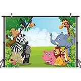LYWYGG Sfondo di Zoo Fotografia 7x5ft Fumetto Safari Animali Sfondo Buon Compleanno Fotografia Sfondo Fauna Giungla Zoo Zoo Tema Decorazione di Festa Photo Studio Puntelli CP-4