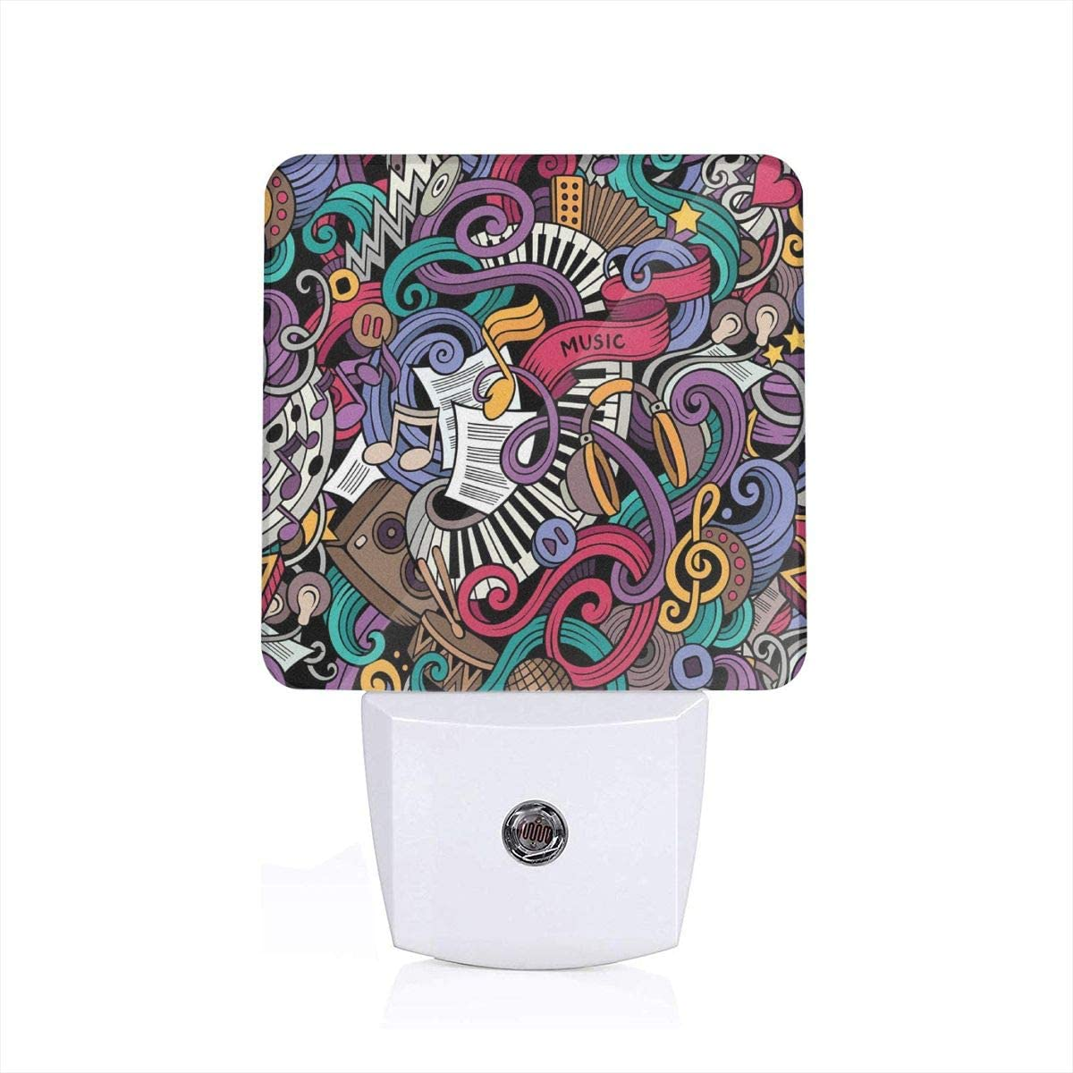 Music Themed Hand Drawn Abstract Instruments Microphone Drums Keyboard Stradivarius Plug-in LED Night Light Lamp with Dusk to Dawn Sensor, Night Home Decor Bed Lamp: Amazon.es: Iluminación