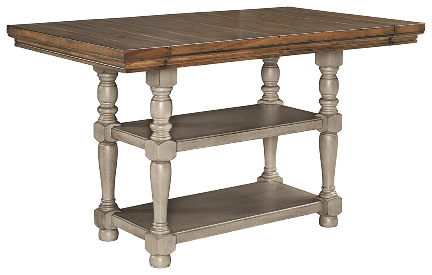 Signature Design By Ashley - Lettner Rectangular Dining Room Counter Extention Table - Casual Style - Gray/Brown