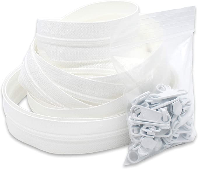 Down Jackets White, 1.2 In x 50 Yards Patioer Size 5 Nylon Coil Zippers with 50 Zipper Sliders or Replacement ideal for DIY Clothing Projects Large Size Storage Bags