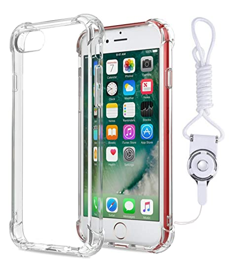 huge selection of a43df ddbd1 iPhone 7 / iPhone 8 Case, Four Corners Air Cushion Soft Gel Transparent TPU  Shock Absorption Bumper Case with Detachable Neck Strap,Lanyard Wristlet ...