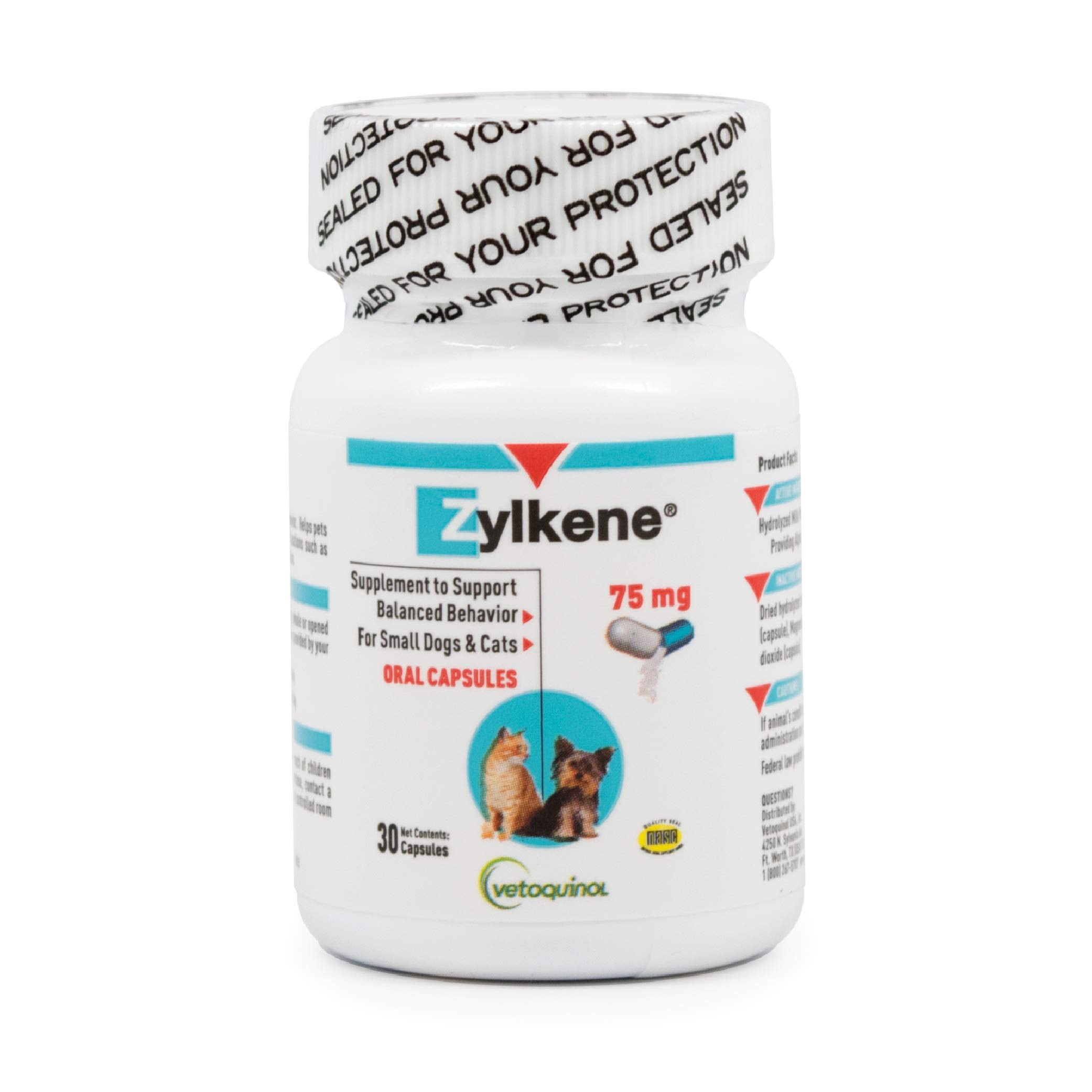 Vetoquinol Zylkene Behavior Support Capsules for Dogs & Cats, 75mg, 30ct - Calming Natural Milk Protein Supplement - Help Pets Cope with Change & Noise-Related Stress - Non-Drowsy - Lactose-Free by Vetoquinol
