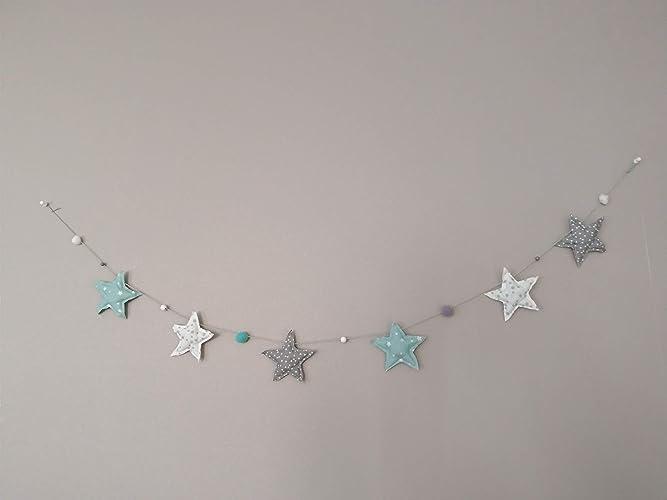 Guirlande D Etoiles Menthe Gris Decoration Chambre De Bebe