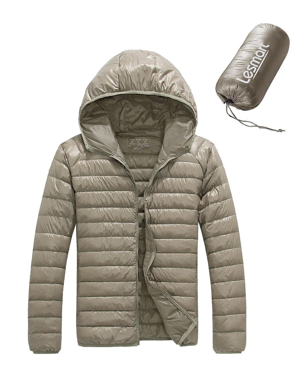 Lesmart Men's Winter Down Jacket 90% White Duck Down Hooded ...