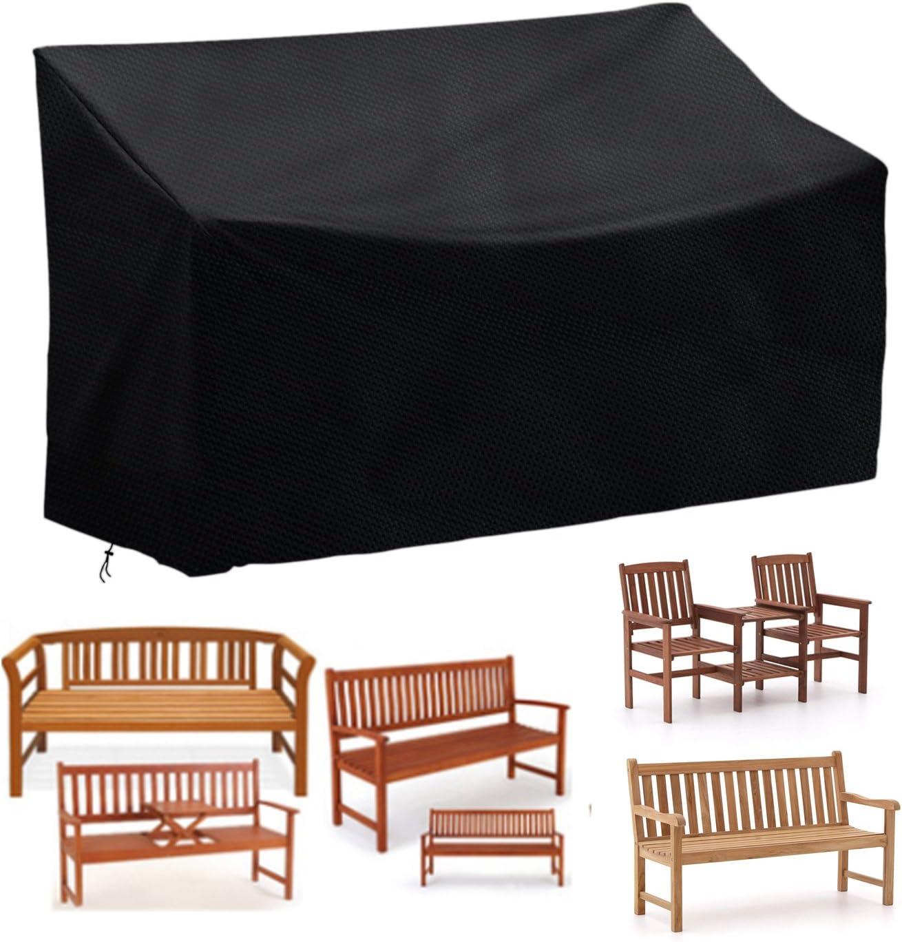 Vzesok Housse de Protection pour Banc 2 Places Couverture Imperm/éable avec Accoudoires Droits 420D Oxford Polyester Noir