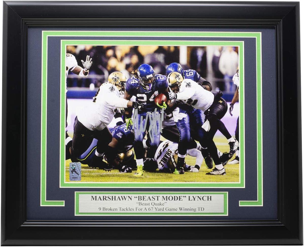 Marshawn Lynch Signed Framed 8x10 Seattle Football Photo Marshawn COA