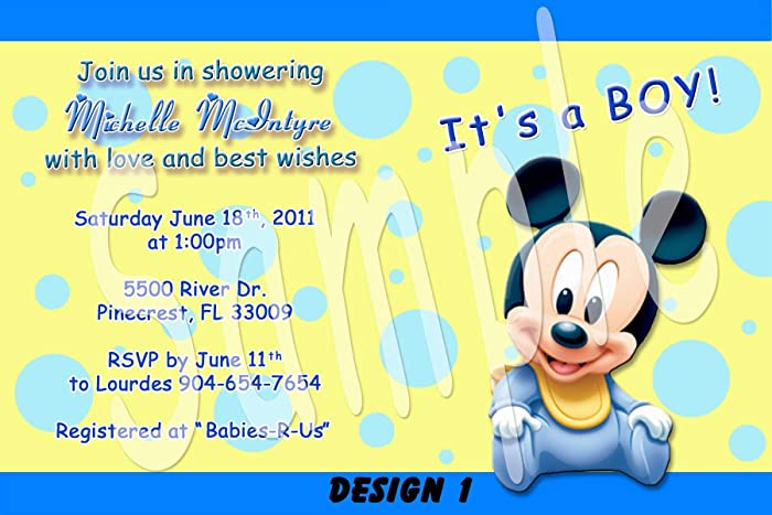 amazon com mickey mouse baby shower boy personalized invitations