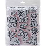 "(Crazy Dogs) - Tim Holtz Cling Stamps 7""X8.5""-Crazy Dogs"
