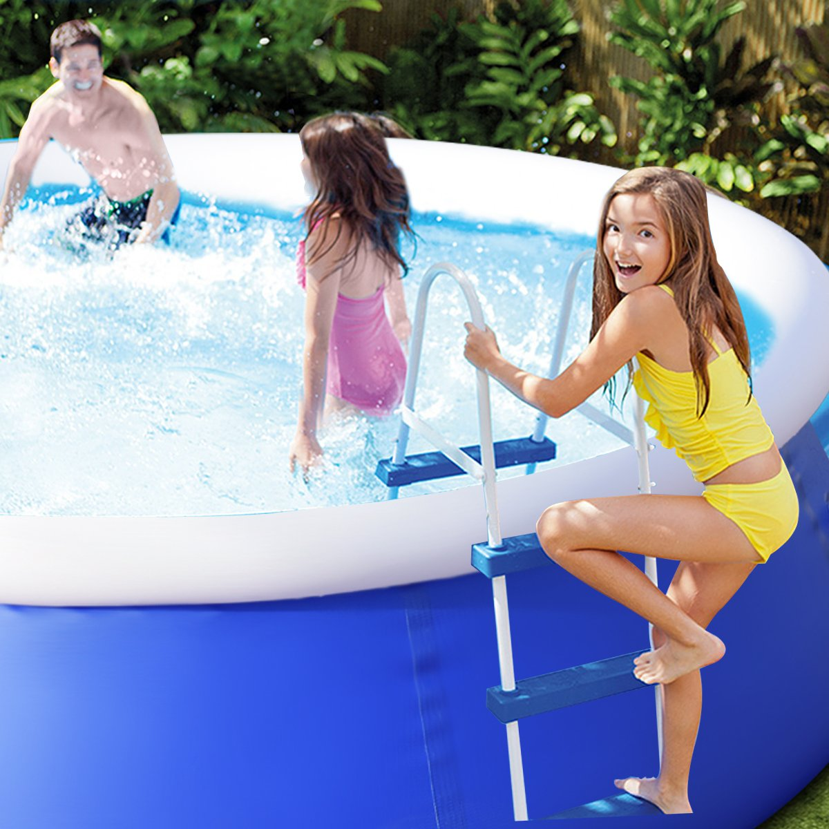 Goplus Inflatable Swimming Pool Family Lounge Pool Swim Play Center Easy Set Pool without Pump, 8' x 30'' (Blue) by Goplus (Image #4)