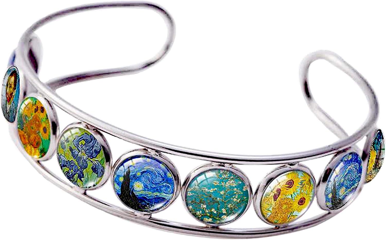 Cuff Bracelet Art Pattern Under Glass Dome Jewelry Handmade