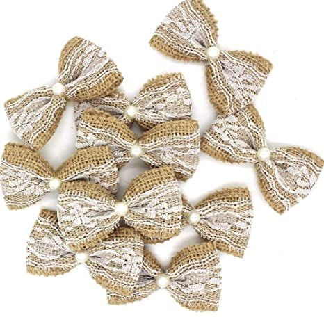 Flores de arpillera naturales hechas a mano, lazos de ...
