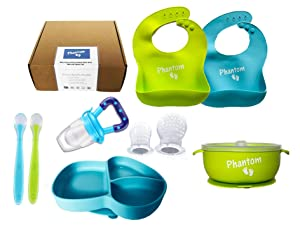 Silicone Baby/Toddler Bibs Spoons Plate Bowl with Suction,Pacifier| Baby Gifts (Blue Green)