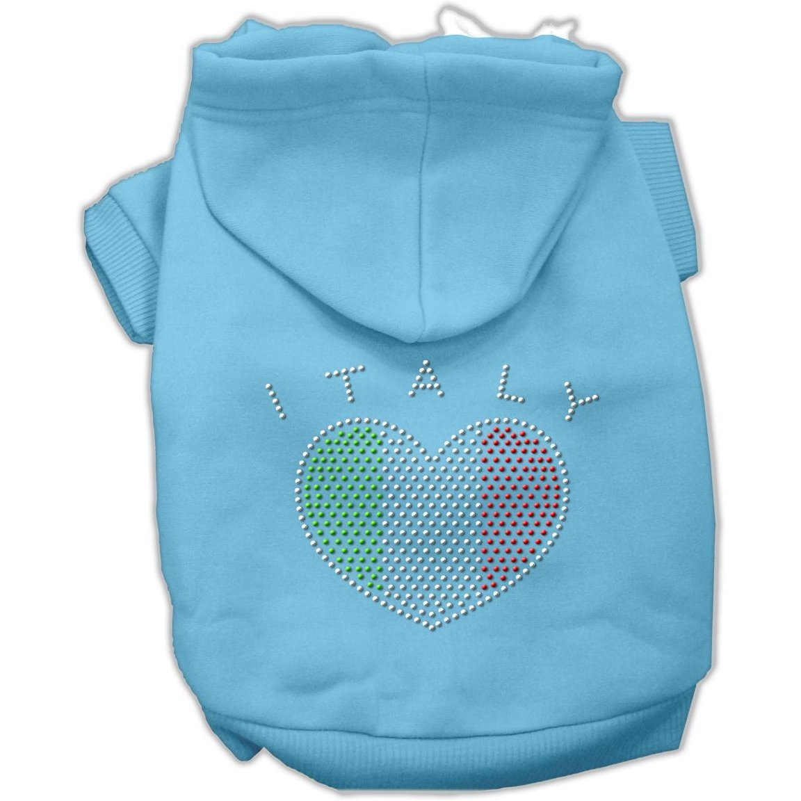 Mirage Pet Products Italian Rhinestone Hoodies, Baby bluee, Small