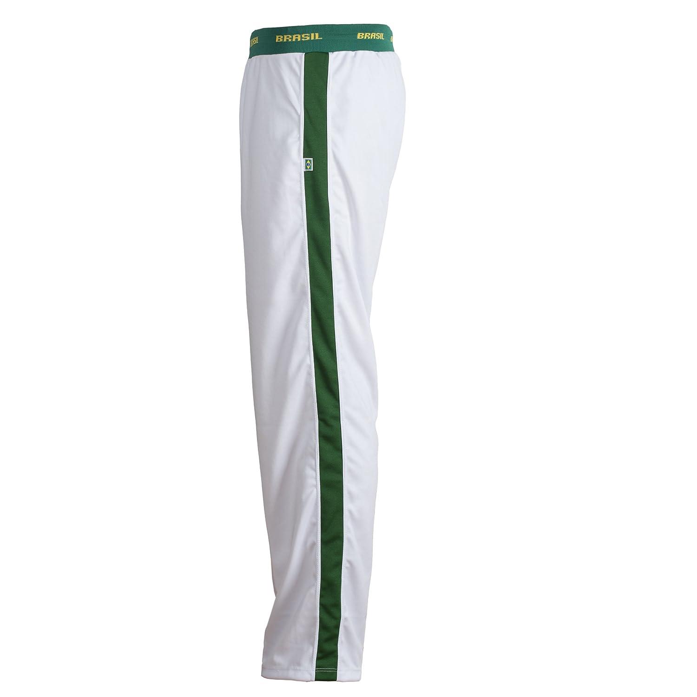 JL Sport Unisex Brazilian Flag Green White Capoeira Kids Youth Martial Arts Elastic Sports Pants