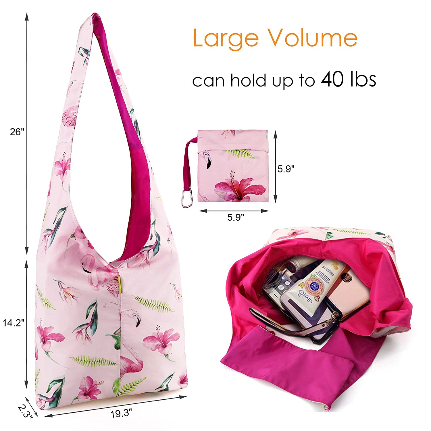 Messenger-Bag-Crossbody Bag for Men Women Travel Foldable Nylon Sling Bag  with Zipper Cross Body Bag with Pink Flamingo Pattern Fashion Bag for Gifts  Tote ... df97da4fcd