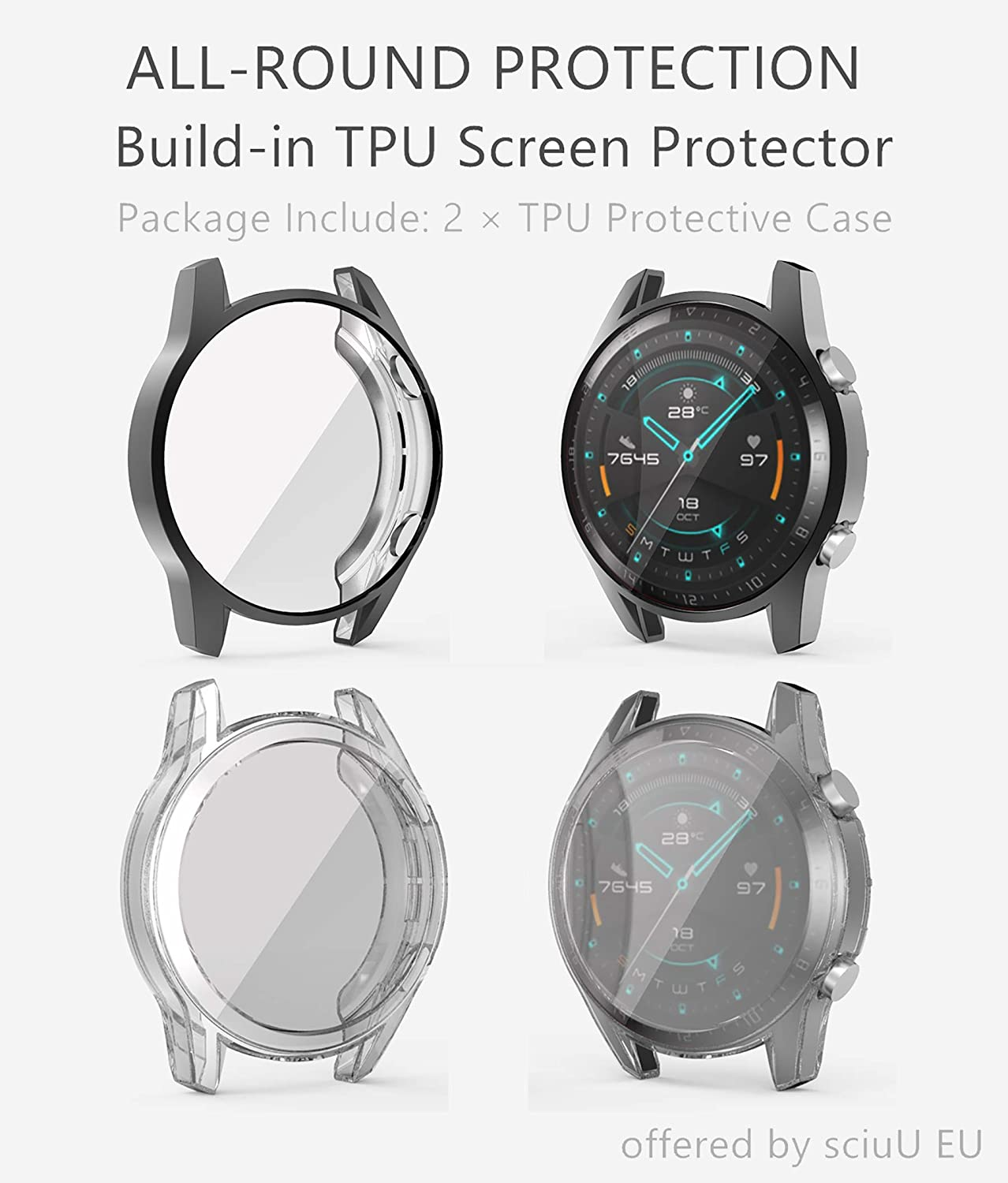 Silver sciuU Protective Case for HUAWEI GT 2 46mm, Released in 2019 Soft Frame Shock Resistant Cover for HUAWEI GT 2nd Generation ,All-around Flexible TPU Case with Screen Protector