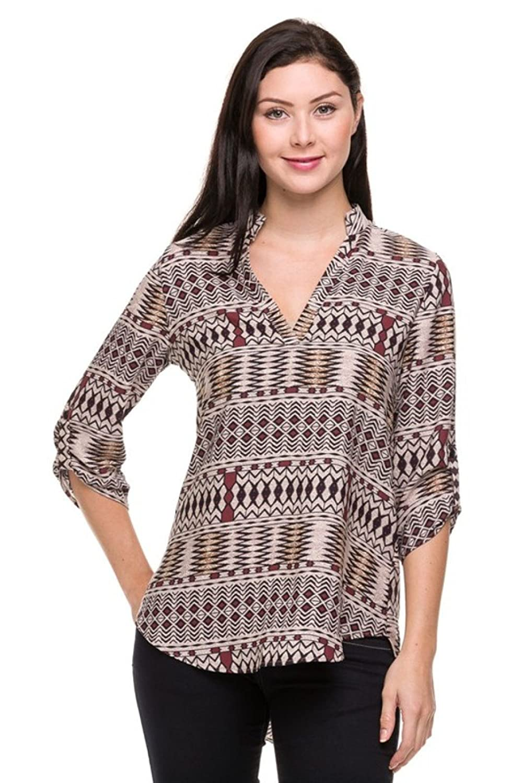 2LUV Women's Dressy 3/4 Sleeve Split V-Neck Hi-Low Blouse