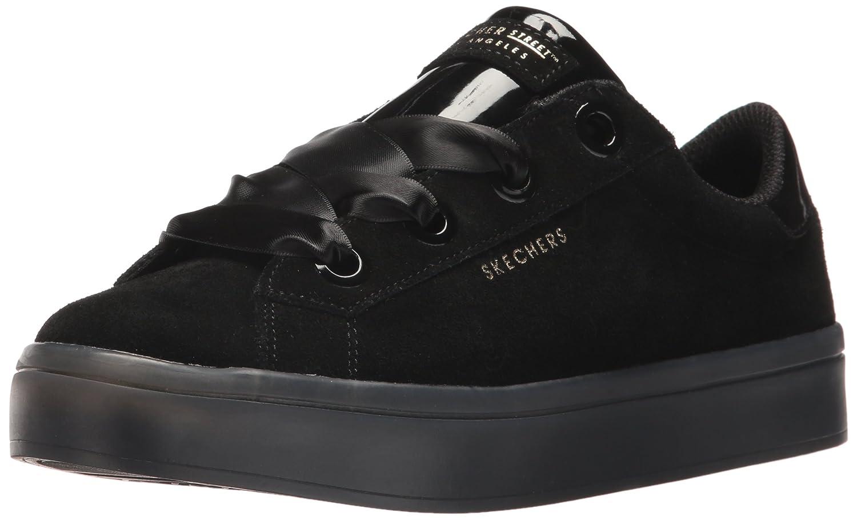 Skechers Women's Hi-Lite-Suede Satin Sneaker B0741Z42BF 11 B(M) US|Black/Black