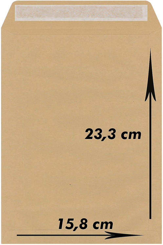 Confezione da 50 buste Kraft marroni 15,8 x 23,3 90 g//m2 con banda di protezione.