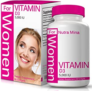 Vitamin D3 5000 IU for Women with Cholecalciferol That Supports Proper Calcium Absorption to Maintain Strong Bones, Teeth, Muscles and Immune System, 60 Softgels - Made in USA