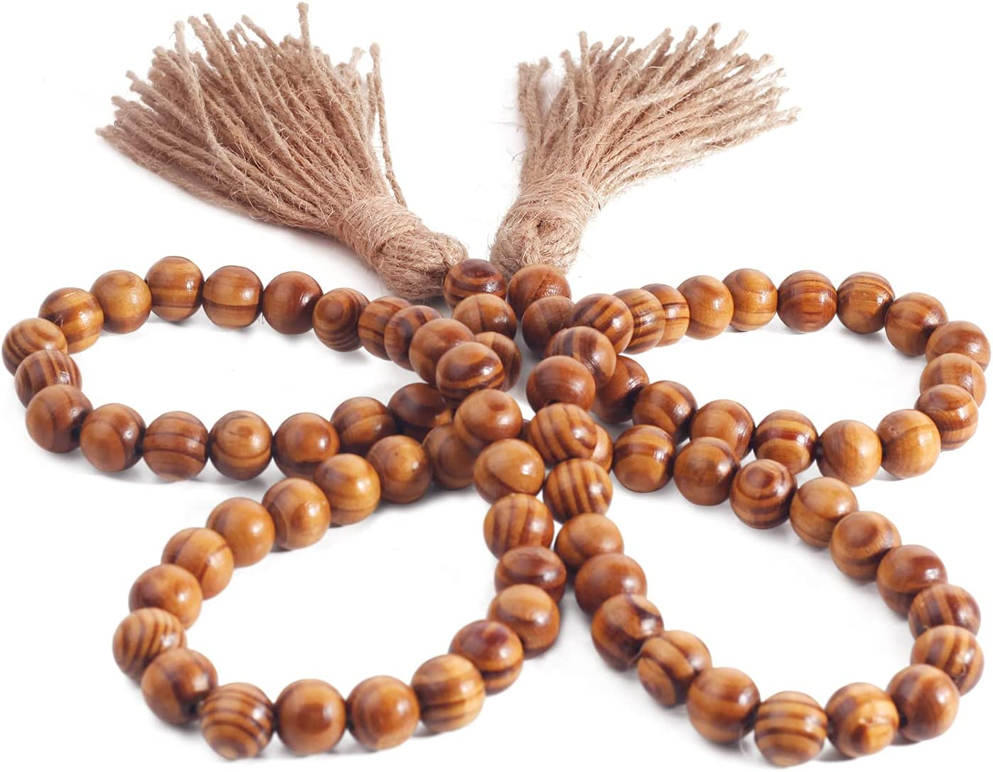 Pegason Wood Bead Garland Farmhouse Beads with Tassel Rustic Home Boho Wall Decor Waxed Wooden Pattern Beads Dining and Coffee Table Decor Tassel Garland Easter Decoration Gift for Mom
