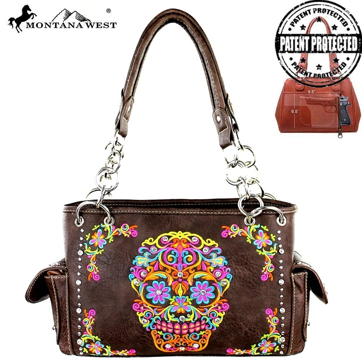 Montana West Sugar Skull Collection Colorful Embroidery Purse Coffee