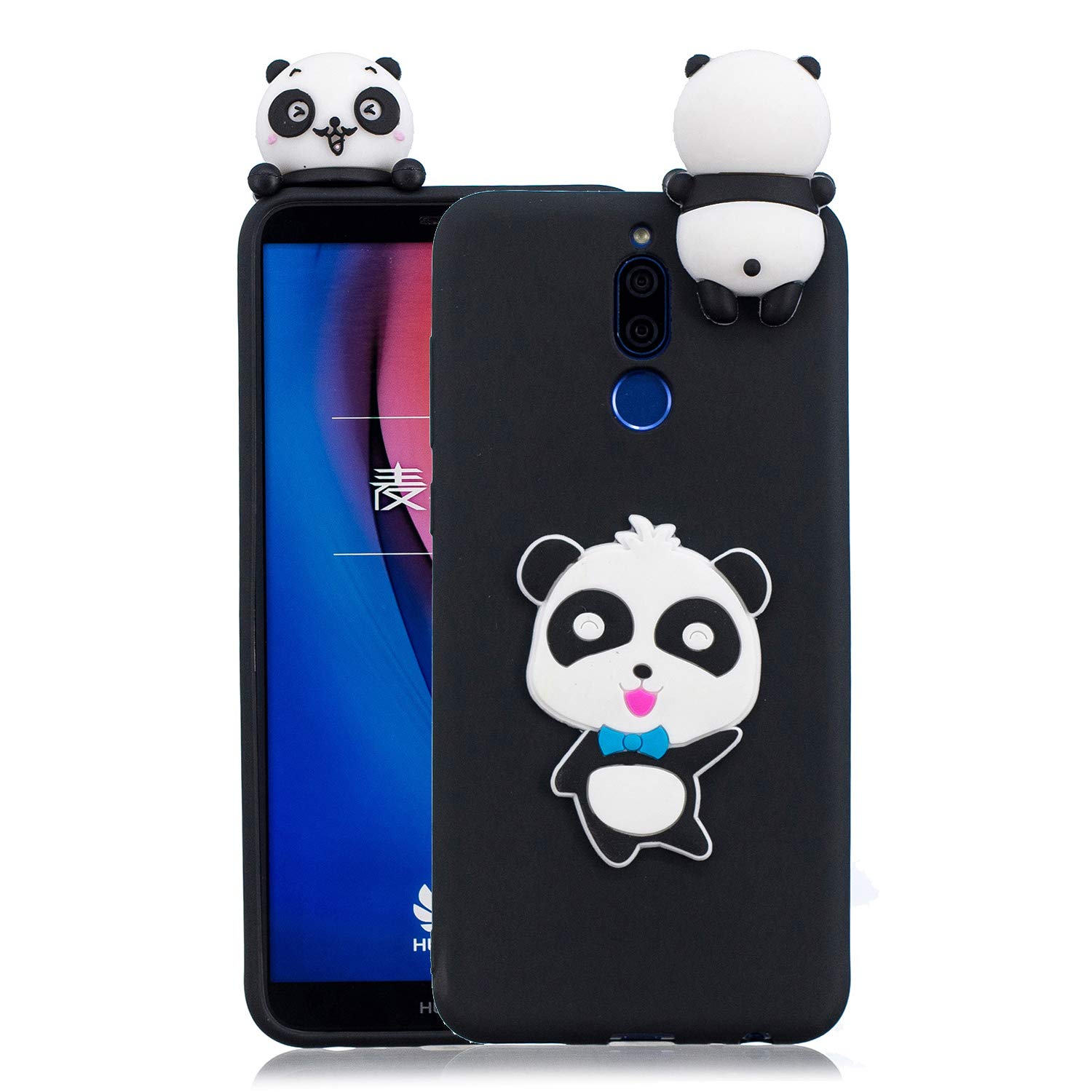for Huawei Mate 10 Lite Silicone Case with Screen Protector,QFFUN 3D Cartoon [Panda] Pattern Design Soft Flexible Slim Fit Gel Rubber Cover,Shockproof Anti-Scratch Protective Case Bumper