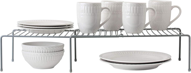 Amazon Com Kitchen Details Grey Holds Plates Cups And Bowls Expanding Kitchen Shelf Organizer