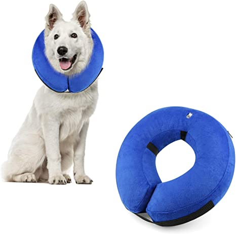 ProCollar Protective Inflatable Recovery Collar for Dogs and Cats Wounds and Rashes Soft Pet Cone Does Not Block Vision E-Collar Designed to Prevent Pets from Touching Stitches