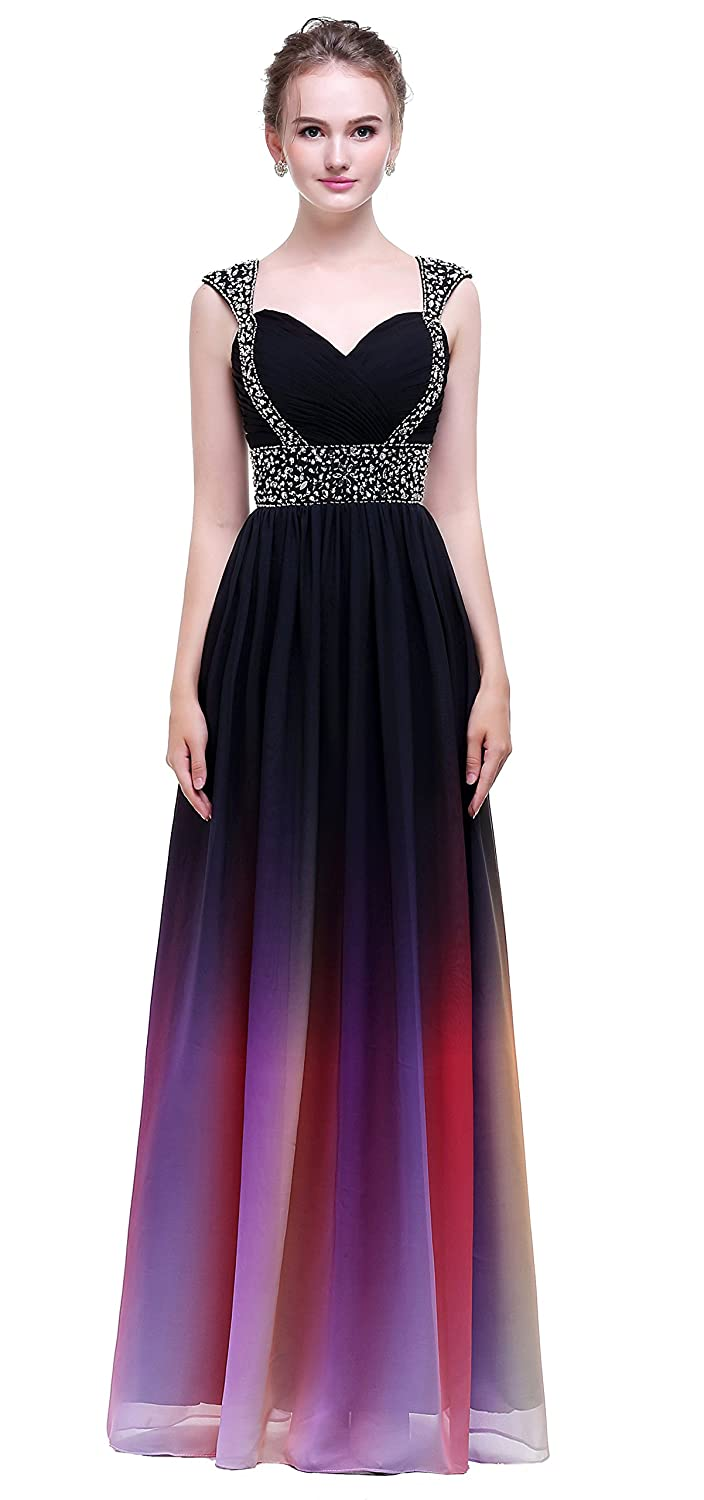 f9fc9fc2ace Fabric  Ombre Chiffon  Gradient Colorful Sexy Dresses Strapless with  Pleats