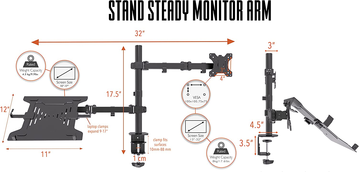 Stand Steady Laptop and Monitor Arm for AV Cart